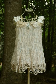 Shabby Chic Tea Stained Crochet Doily Lace Tunic Blouse from Upcycled Clothing. $62.00, via Etsy.