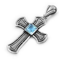 Sterling Silver & Aquamarine Christian Cross Necklace