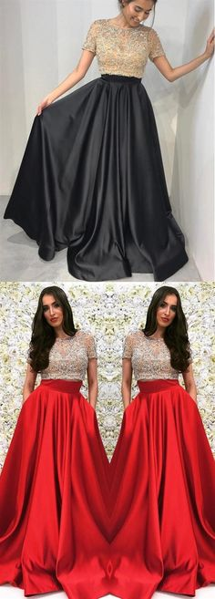 Two Pieces Round Neck Short Sleeves Satin Prom Dresses Military Ball Dresses Inexpensive Bridesmaid Dresses, Cheap Party Dresses, Affordable Prom Dresses, Mini Dresses, Formal Dresses, Orange Long Dresses, Junior Homecoming Dresses, Military Ball Dresses, Girls Dresses