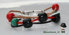 Damen-Armband - Leder - Holz Perlen - bunt von Bijouxbaron_24 auf DaWanda.com