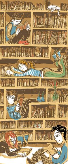 Reading between friends. illustration by: Paul Hoppe I Love Books, Books To Read, My Books, I Love Reading, Reading Library, Reading Time, Lectures, Book Nooks, Book Of Life