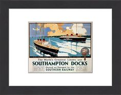 22x18 (56x46cm) Framed Print featuring Picture number: POS/C000115 Description: SR poster. The World's Greatest Liners use Southampton Docks by Leslie Carr. Wood grain effect frame with professionally mounted print. Overall outside dimensions are 22x18 inch (566x465mm). Features hardboard back stapled in with hanger and glazed with durable Styrene Plastic to provide a virtually unbreakable glass-like finish. Easily cleaned with a damp cloth. Moulding is 40mm wide by 10mm thick.