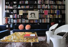 The joy of reading takes center stage in this room, even in the presence of a gold-leaf table by Yves Klein. Photographs by Ivan Terestchenko; courtesy of Potter Style