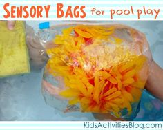 sensory bags that your children can make and play with in the pool (or patio - not inside - unless your cool with water everywhere).