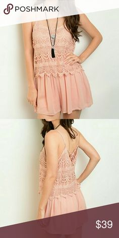 Pink Crochet Romper Pink Crochet layer, adjustable spaghetti straps, tie v-neck back, lined chiffon shorts Super cute and comfy for summer!!! 100% Polyester Made in China Threadzwear Other