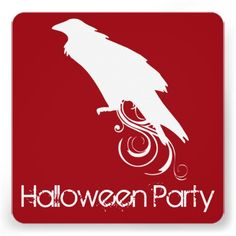 Raven Red Halloween Party Invitation
