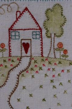 Hand Embroidery Embroidered country house from Rosalie Quinlan Designs. Blackwork Embroidery, Learn Embroidery, Hand Embroidery Stitches, Silk Ribbon Embroidery, Embroidery Hoop Art, Hand Embroidery Designs, Embroidery Techniques, Hand Quilting, Machine Embroidery
