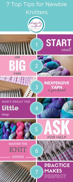 If you are a newbie knitter, there's a good chance you're feeling pretty overwhelmed by everything there is to learn. Knitting is really quite simple once you've learnt the basics, but just grasping the basics can seem like a herculean task when you're drowning in jargon! Click through to see my infographic, with my 7 Top Tips for Newbie Knitters!