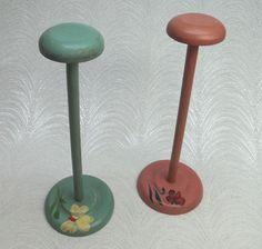 Pair Vintage Wooden Hat Display Stands w Hand Painted Deco Hat Display, Display Stands, Bowl Hat, Hat Stands, Hat Boxes, Painted Flowers, Vintage Hats, Derby Hats, Hat Pins