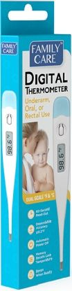 Family Care Digital Thermometer  -Durable and precise medical device.  -Dependable accuracy plus or minus 0.2 degree Fahrenheit.  -Memory recalls last temperature.  -For oral, underarm, or rectal use.