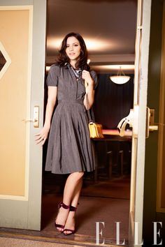 Jason Wu dress, Tom Binns Design necklace, Chanel bag, and Tom Ford sandals.