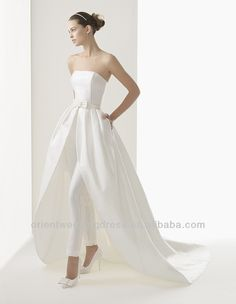 #wedding dress with detached skirt, #high low wedding dress with detachable train, #pant suit wedding dresses 2013