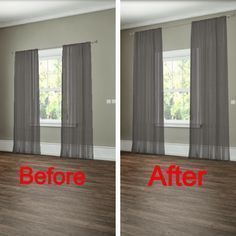 How to hang your curtains to give the illusion of larger windows. -- 27 Easy Remodeling Projects That Will Completely Transform Your Home(Diy House Renovations) Diy Casa, Easy Home Decor, Best Interior Design, Interior Trim, Home Renovation, Home Projects, Home Improvement, Sweet Home, New Homes