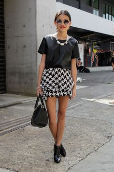 Leather & checkers. Love this!! Trendy for summer. ::M::
