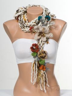 NEW Bohemian crochet scarf Lariat scarf. Extra long hippie scarf. Crochet belt. Cream and Brown and colorful.