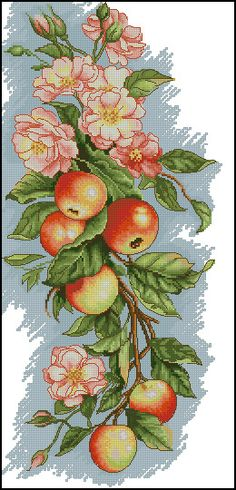 Cross Stitch Kit Composition with Apples - Luca-S > Cross Stitch Kits > Luca-S > Cross stitch kits > The Stitch Company Counted Cross Stitch Kits, Cross Stitch Charts, Cross Stitch Patterns, Cross Stitches, Embroidery Fabric, Cross Stitch Embroidery, Deco Fruit, Dimensions Cross Stitch, Cross Stitch Fruit