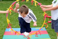 Cute circus themed activities - cirly q ribbon or streamer hanging down..