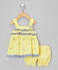 Take a look at this Yellow Ruffle Butterfly Seersucker Dress & Bloomers - Infant by Sweet & Soft on #zulily today! $8.99
