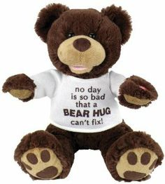 "Chantilly Lane 11″ Huggy Bear with T-shirt Sings ""So You Had a Bad Day"": Birthday gift"