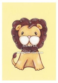 Children decor safari nursery art for baby decor leo jungle animals safari animals kids wall art - My lion - yellow. $9.00, via Etsy.