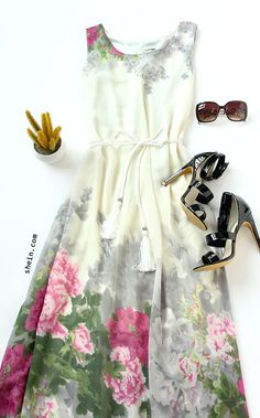 White Tassel Belted Flower Print Chiffon Dress