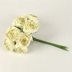 Bunch of 10 Colourfast Glittered Roses Ivory / Gold - Artificial Flowers: Amazon.co.uk: Kitchen & Home