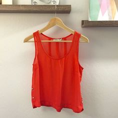Orange/coral Tank 100% Polyester Sheer tank with details on back. Make me an offer! Tops Tank Tops