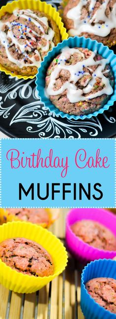 Birthday Cake Muffins. The cupcake cakes are a perfect idea to make birthday cakes cupcakes. A birthday muffin favorite. #birthdaycake #muffin #birthday via @brought2ubymom