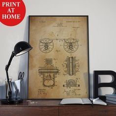Old Automobile Patent Art Print-Car Old Poster-Patent Prints-Patent Poster-Printable Wall Art-Man Cave Decor-Boyfriend Gift-Husband Gift
