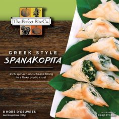This gourmet party appetizer is created with rich spinach and cheese filling in a flaky phyllo crust. Delicious and easy to bake up for any occasion! Spinach And Cheese, Hors D'oeuvres, Spanakopita, Melted Butter, Fresh Rolls, Greek, Frozen, Appetizers, Favorite Recipes