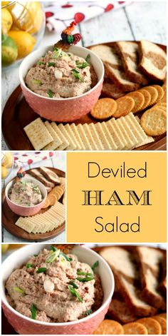 Looking for ways to use leftover ham? Deviled Ham Salad is a recipe it seems every family has a favorite recipe. It's great on marbled rye bread or as a spread for crackers. Ham Salad Recipes, Pork Recipes, Appetizer Recipes, Snack Recipes, Cooking Recipes, Appetizers, Recipies, Fruit Recipes, Deviled Ham Recipe