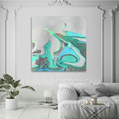 "🎨''Pacific Jewel""(Part 2)''💙Let's get start the new week with hues of turquoise-green, silver-gray and white! 🌊 🐚💚 Happy new week everybody!💞 💻 : www.juliaapostolova.com 💻 : www.juliaapostolova.etsy.com/ 💻 : www.juliaapostolovaart.etsy.com/ #juliaapostolova #coastaldecor #abstractseascape #abstractcontemporary #abstractart #pastelabstract #abstractpaintings #modernhomedecor  #dailycollector #interiorstyling #interiordecor #artcollectors #homedesign #homedecor #interior #decor Grey Wall Art, Large Wall Art, Canvas Wall Art, Pacific Jewel, Abstract Paintings, Abstract Art, Graphic Art Prints, Bright Art, Flow Arts"