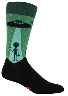 Conspiracy theorists unite! Green and black crew length socks with a friendly alien beaming down from his flying saucer into a pine woodland. Fits men's shoe size 8-12.5.