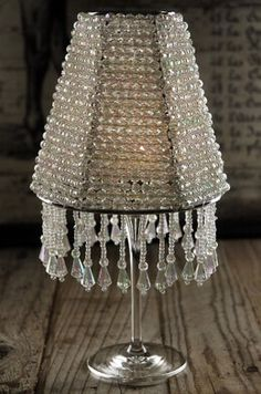 Crystal lamp shadetake fabric off old lampshade and string the majestic crystal wine glass lampshade candle shade greentooth Gallery