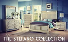Just in! Bedazzle your bedroom with the Old Hollywood glamour of our new Stefano Collection.  Queen Bed - $690.00 Cal. King Bed - $860.00 Nightstand - $260.00 Dresser - $650.00 Dresser Mirror - $180.00 Chest of Drawers - $590.00