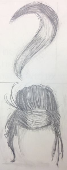 9 - Graphite - Self-Portrait Hair Drawings