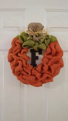 Pumpkin burlap wreath pumpkin wreath fall wreath by TheFabFox Burlap Crafts, Wreath Crafts, Diy Wreath, Wreath Fall, Wreath Ideas, Fall Burlap Wreaths, Fabric Wreath, Wreath Making, Thanksgiving Crafts