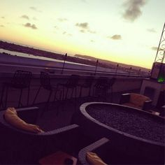 With 80 degree weather, no fire pit is needed! Four Restaurant, Rooftop Bar, San Diego, Fair Grounds, Lounge, Fire, Sky, Sunset, Weather