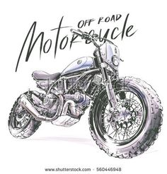 stock-photo-off-road-motorcycle-poster-illustration-hand-drawing-sketch-custom-motorcycle-banner-560446948.jpg (450×470)