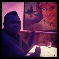Head of @Demotix Sales Ossie admiring Princess Diana crying tipex in an Indian restaurant