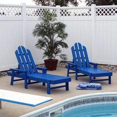 Superbe Outdoor POLYWOOD® Long Island Recycled Plastic Chaise Lounge Pacific Blue    ECC76PB Patio Chaise Lounge
