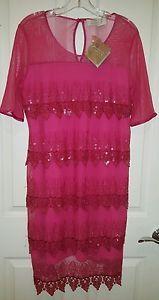 Badgley-Mischka-American-Glamour-Tiered-Formal-Fuscia-Dress-Size-L-NEW