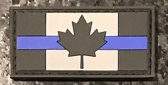LEO Thin Blue Line Canadian Flag PVC Rubber Morale Patch FREE SHIPPING CANADA