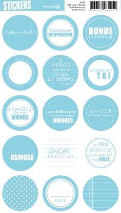 round stickers - blue - Stickers ronds Kesi'Art pour toutes vos réalisations Scrapbooking #kesiart #scrapbooking #scrapbookingsupplies