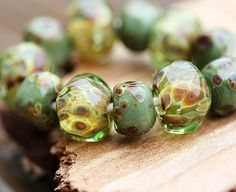 Lampwork beads olive green handmade  SRA by MayaHoney by MayaHoney, $18.20