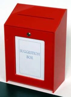 Red Suggestion Box - Wall Mountable Suggestion Box, Break Room, Boxes, Wall, Red, Crates, Advice Box, Box, Cases