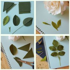 """LEAVES AND BRACTS. You may use doublette and/or florist crepe. Actually, the florist crepe works beautifully - give the paper a good stretch before you use it. With the doublette, take two squares (here, about 2-inches square) and with the """"right sides"""" facing eachother, cut the two stacked pieces at once, a diagonal through the square, so that you end up with equal-sized triangles (You get the pieces for two leaves at once that will have uniform color on the surface.) Take a triangle…"""