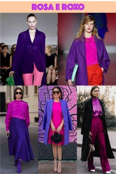 Colorblocking rosa e roxo Purple Outfits, Colourful Outfits, Pretty Outfits, Stylish Outfits, Purple Fashion, Fashion Colours, Colorful Fashion, Colour Combinations Fashion, Color Combinations For Clothes