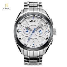 118.13$  Buy here - http://aliyur.worldwells.pw/go.php?t=32679481726 - Brand Fashion Multi-function Chronograph Business Sport Watch Men Casual Auto Mechanical Wrist Watches Full Stainless Steel 118.13$
