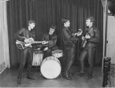 George Harrison, Pete Best, Paul McCartney, and John Lennon (December 17,1961 first photo session)